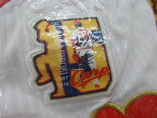 未使用品のカープ黒田選手レプリカユニフォームの記念刺繍です。