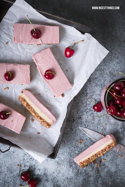 Vegane Kirsch Käsekuchen Schnitten / Cherry Cheesecake Bars