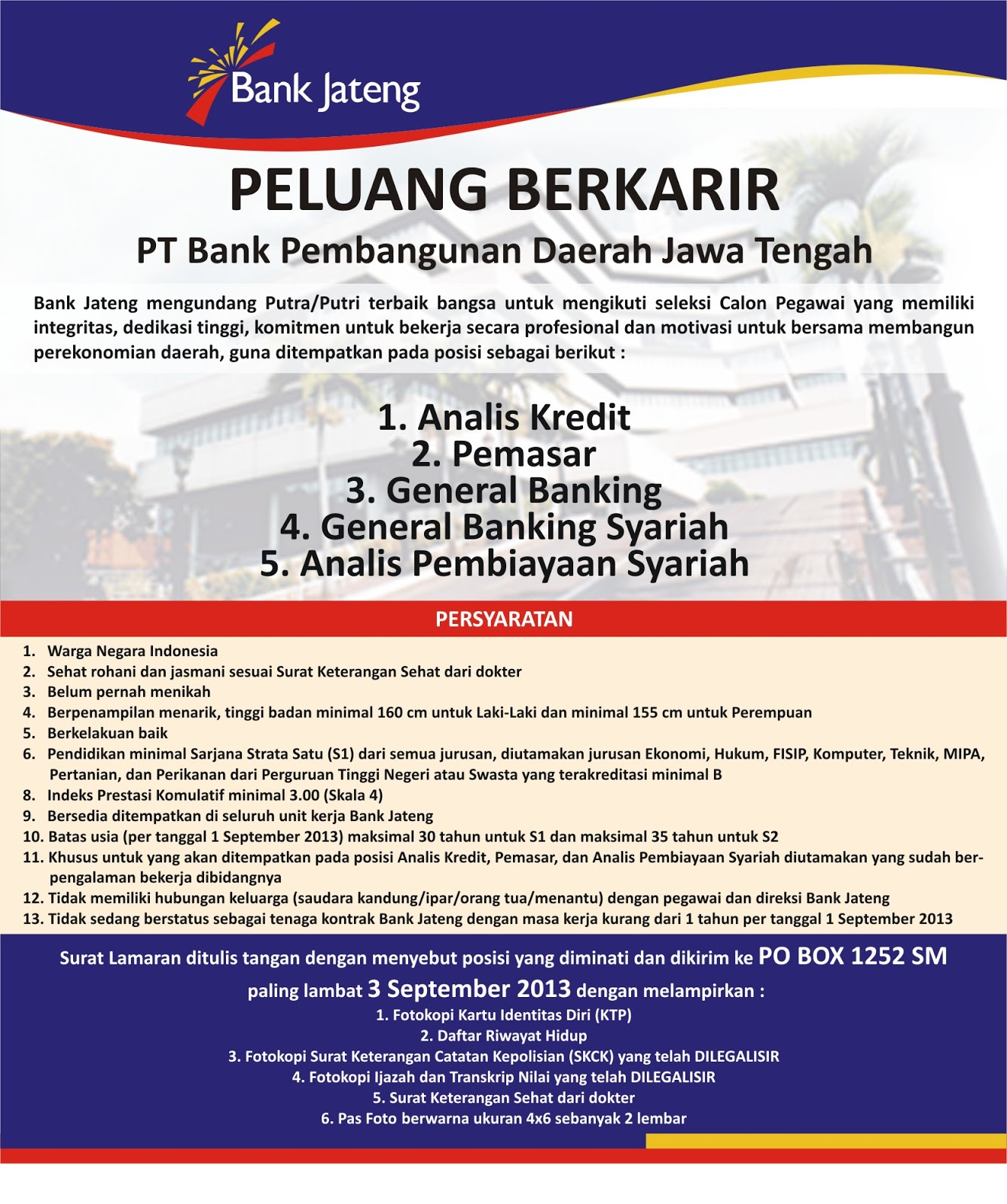 Loker Di Bpd Di Semarang Informasi Lowongan Kerja Loker Terbaru 2016 2017 Ect Lowongan Pekerjaan Bpd Jawa Tengah Maksimal 03 September 2013