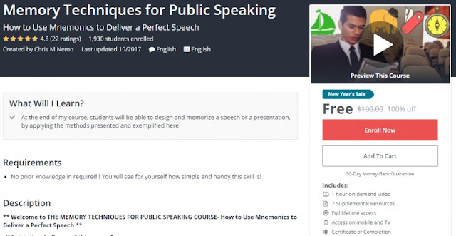 [100% Off] Memory Techniques for Public Speaking| Worth 100$