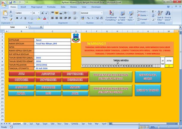 Aplikasi Absensi Daftar Hadir Guru dengan Microsoft Excel