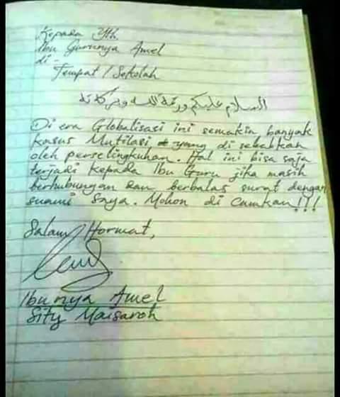 Surat Ibu Amel yang marah-marah