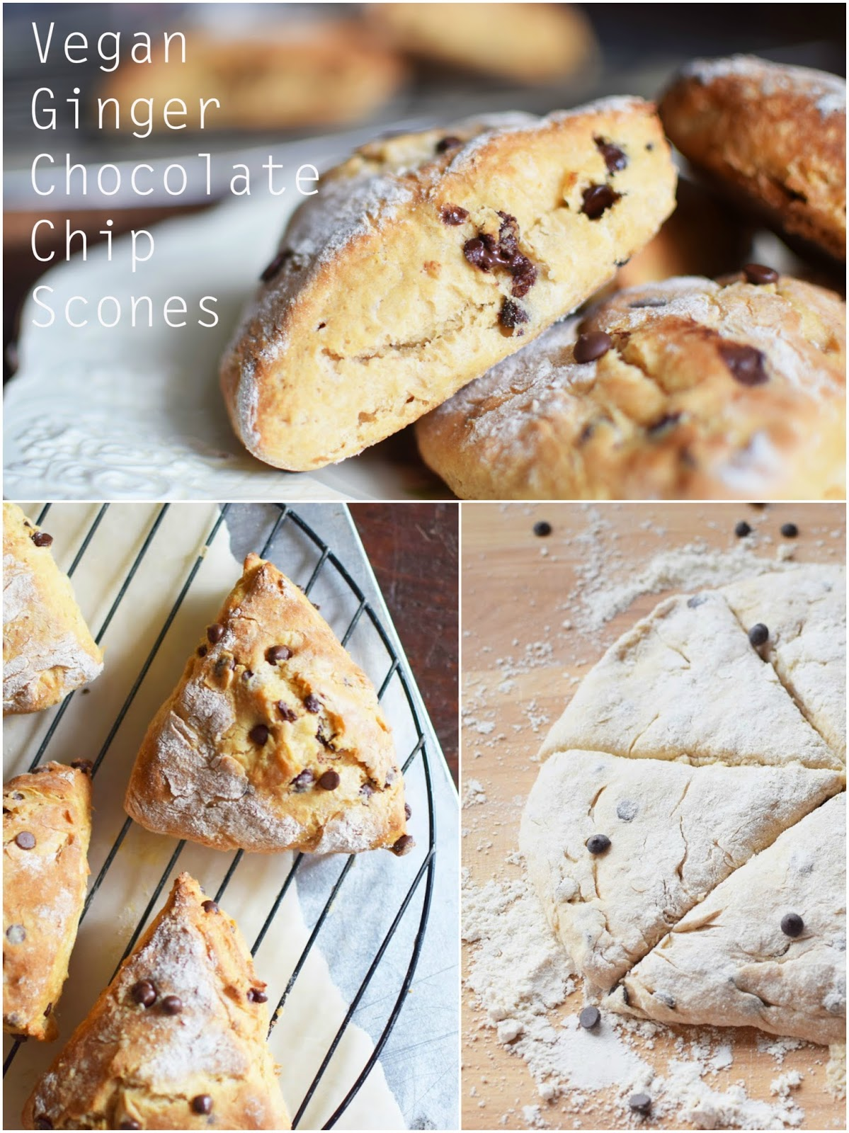 These Vegan Ginger Chocolate Chip Scones are completely free of dairy, but with all the warm delicious goodness a scone should have!