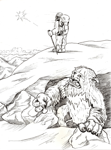 Jake LaGory- illustrator: Cryptozoology Coloring Book- Yeti