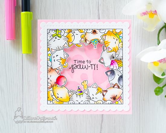 Cat Birthday Card by Tatiana Trafimovich | Newton's Block Party Stamp Set and Frames Squared Die Set by Newton's Nook Designs #newtonsnook #handmade