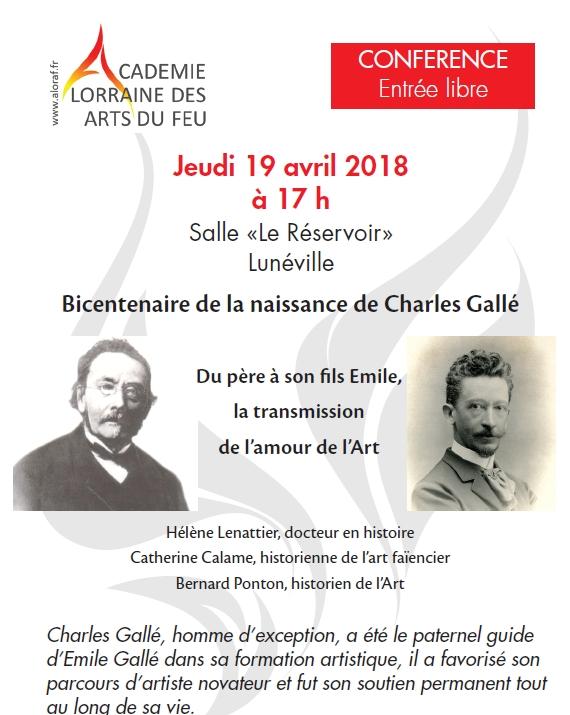 """LUNEVILLE (54) - Conférence """"Bicentenaire de la naissance d'Emile Gallé"""" (19 avril 2018)"""