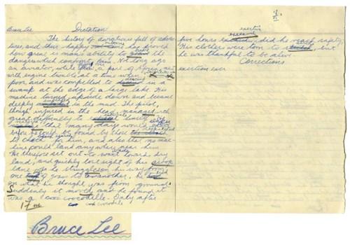 Bài thi võ thuật viết tay của Lý Tử Long