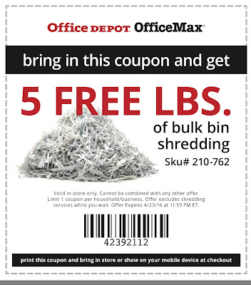 Office Depot Coupons 2016 Shredding