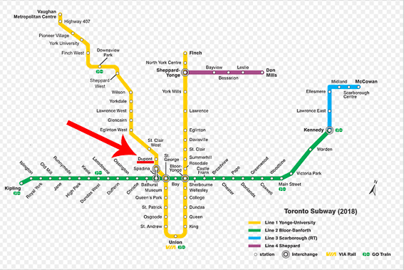 Mapa del metro de Toronto. Casa Loma