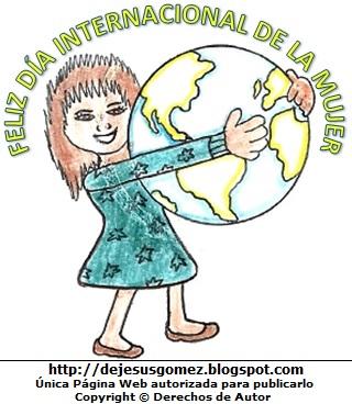 Dibujo alusivo al Día Internacional de la Mujer pintado con colores para niños. Imagen del Día Internacional de la Mujer de Jesus Gómez