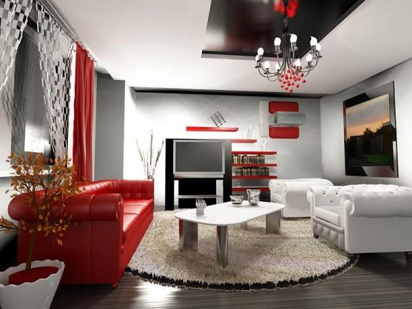 Kırmızı salon dekorasyon tavsiyeleri