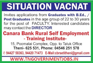 Applications are invited for Faculty Post in CBRSE Training Institute Theni