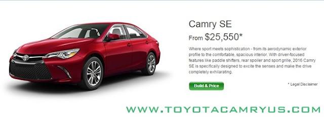 2017 Toyota Camry Sedan LE, SE and XLE / Hybrid Pricelist