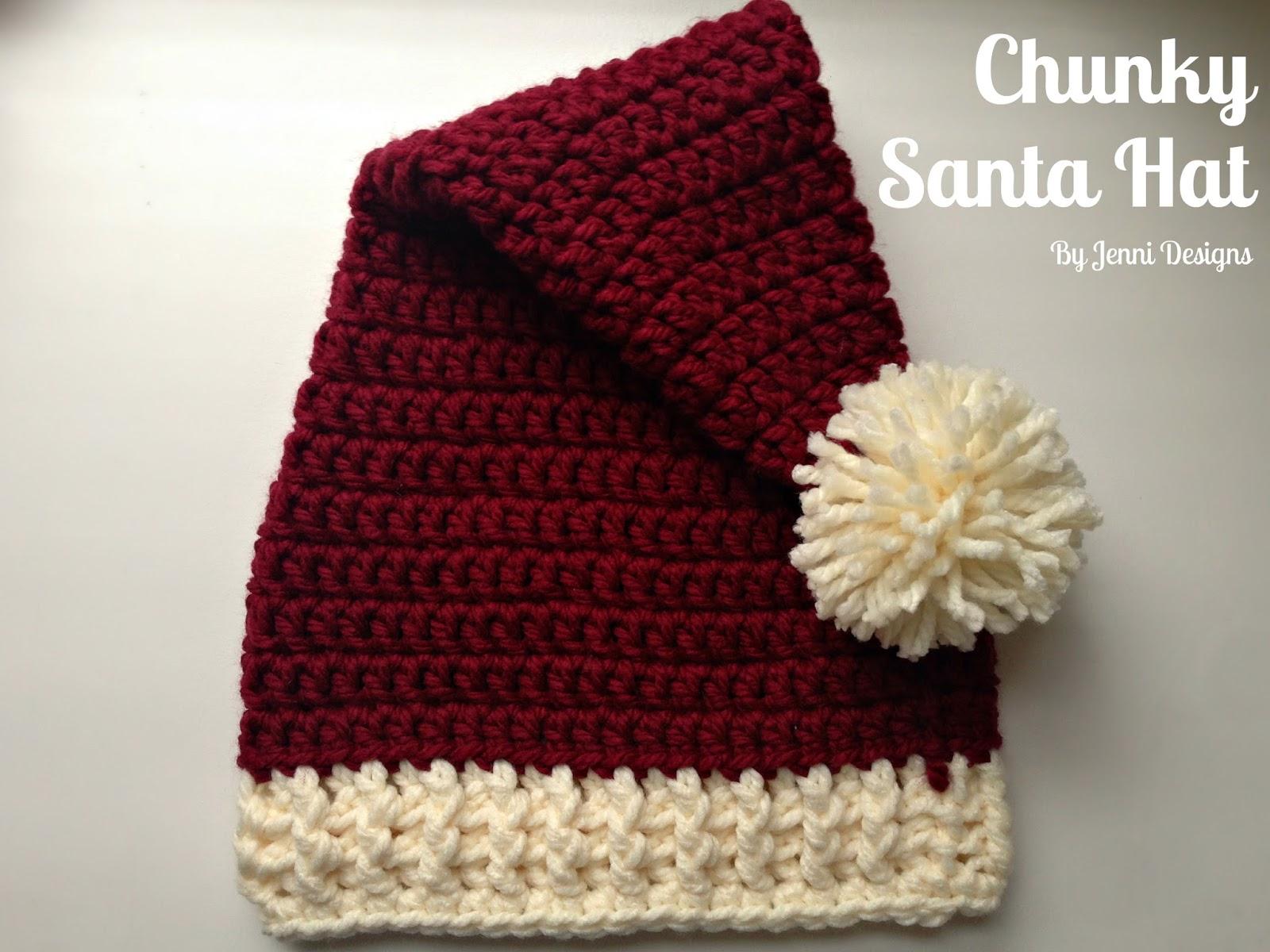 By Jenni Designs: Free Crochet Pattern: Chunky Santa Hat