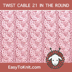 Braid Rib Twist Cable, easy to knit in the round