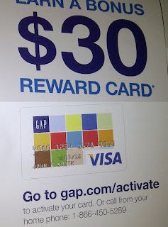 Gap credit card and offer to earn $30 bonus