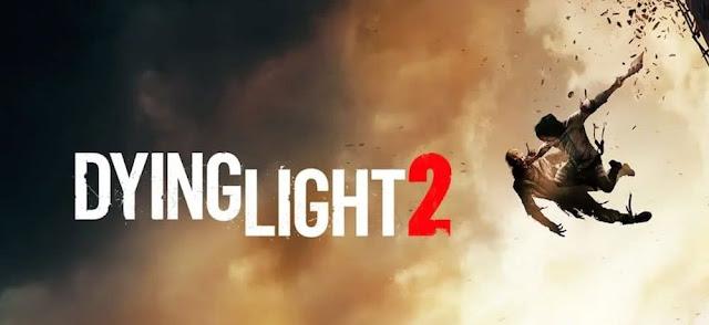 foto com a logo dying light 2 um homem pulando segurando um zumbi