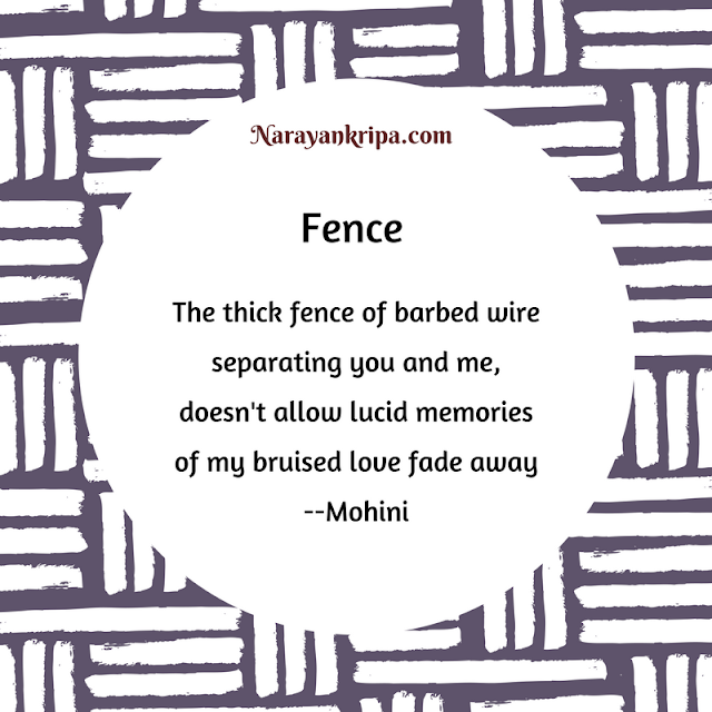 Text Image for short poem 'Fence' on the emotion of separation