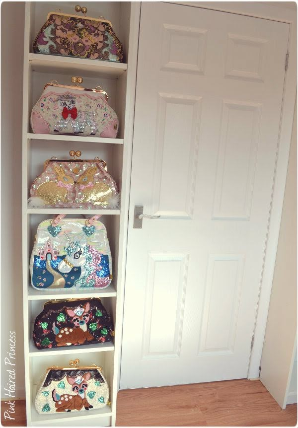 ikea billy bookcase in shoe room with irregular choice handbags displayed next to door