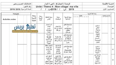 توزيع الوحدة الرابعة الحي/الدوار للمستوى الأول ابتدائي