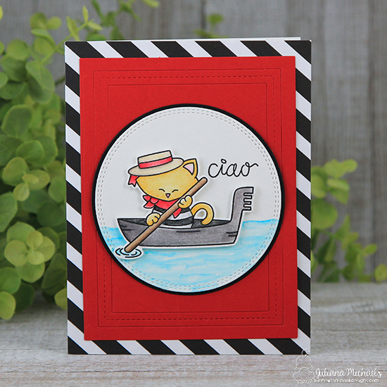 Italy Cat in gondola card by Juliana  Michaels | Newton Dreams of Italy stamp set by Newton's Nook Designs #newtonsnook