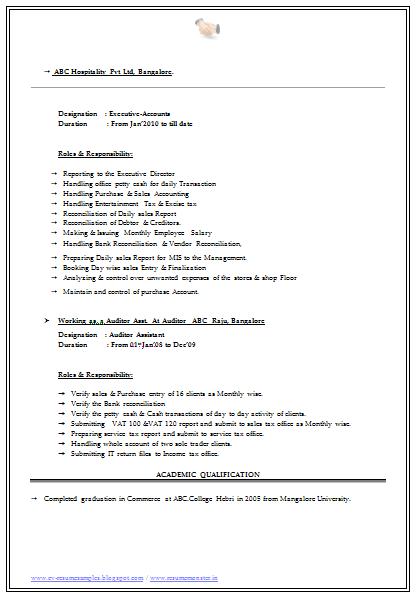 resume samples for bcom graduates