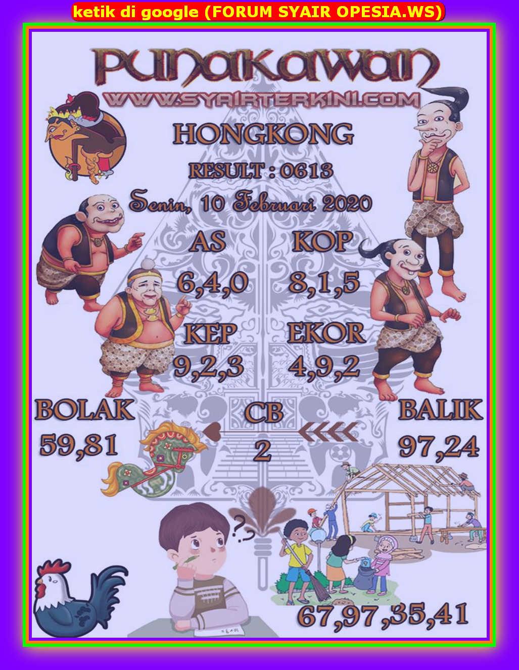 Kode syair Hongkong Senin 10 Februari 2020 108