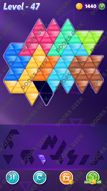 Block! Triangle Puzzle 9 Mania Level 47 Solution, Cheats, Walkthrough for Android, iPhone, iPad and iPod