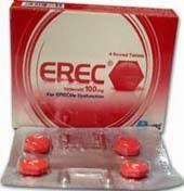 اريك اقراص لعلاج ضعف الانتصاب Erec العلبة الحمراء ، القرص الاحمر (الجرعة ، الاثار الجانبية ، موانع الاستعمال)