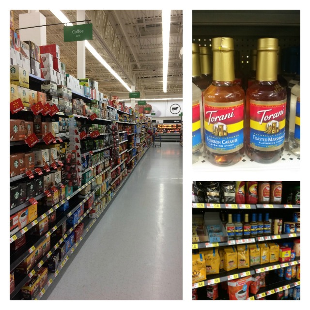 The coffee and tea aisle is also home to the Torani flavored syrups
