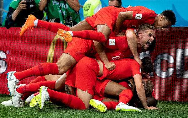 England players celebrate goal at Russia 2018 World Cup