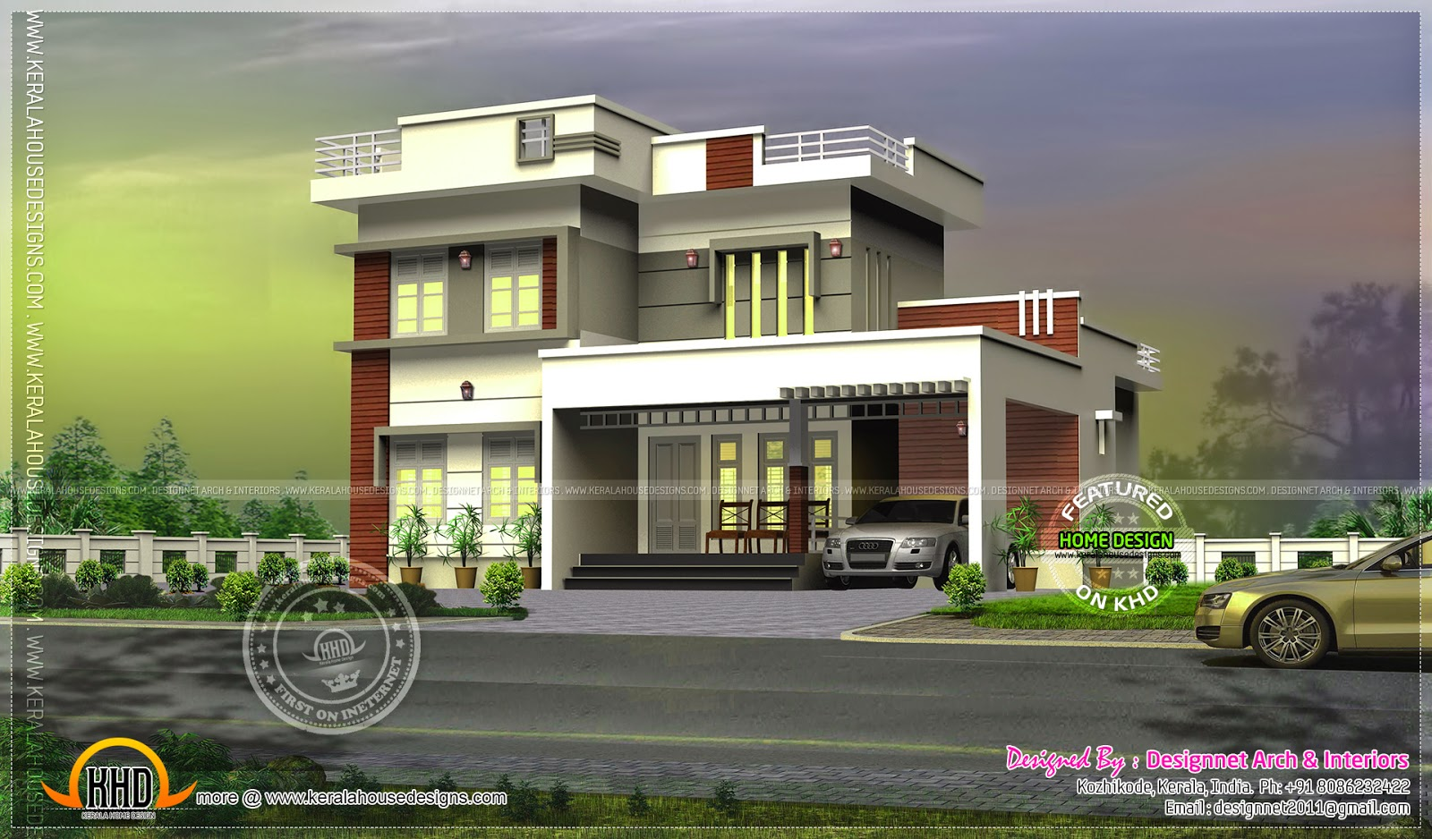 244 square yards modern flat roof house kerala home for Flat roof house plans