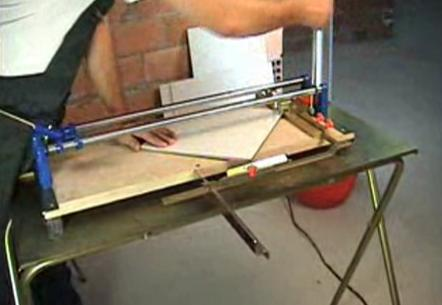 Cutting a Tile Diagonally by Flat Bed Tile Cutter