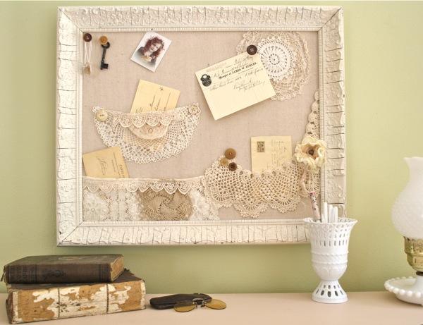 The Polka Dot Closet: Bulletin Boards With Shabby Lace Pockets