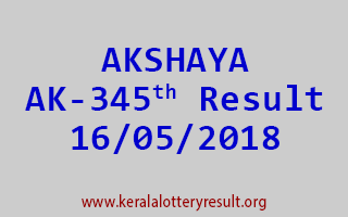 AKSHAYA Lottery AK 345 Result 16-05-2018