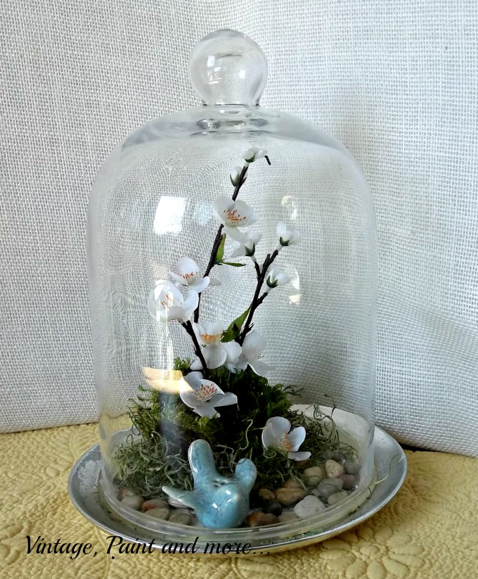 Spring in a Cloche - Spring flowers and birds in a cloche