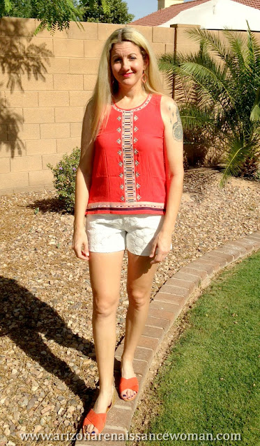 THML Ami Embroidered Top and Eden Society Chelsie Crochet Short - Stitch Fix April 2016