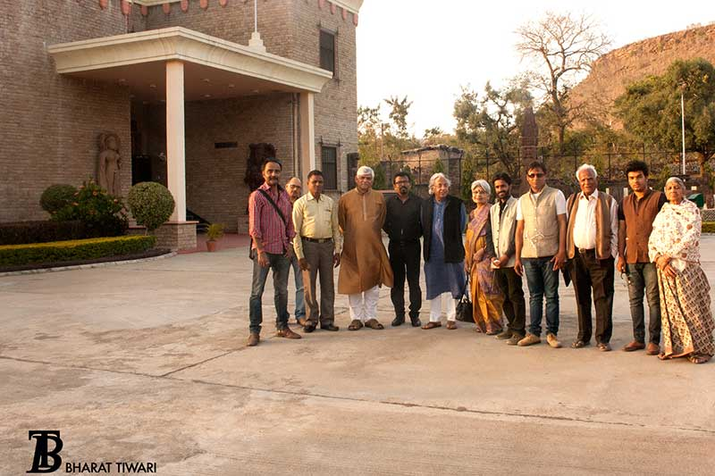 'Chanderi Museum'— L-R Bharat Tiwari, Shivkesh Mishra, Visitor, Gundecha, Manish Pushkale, Ashok Vajpeyi, Manjari Sinha, Chandra Prakash Tiwari, and 4 visitors —  Photo © Bharat Tiwari
