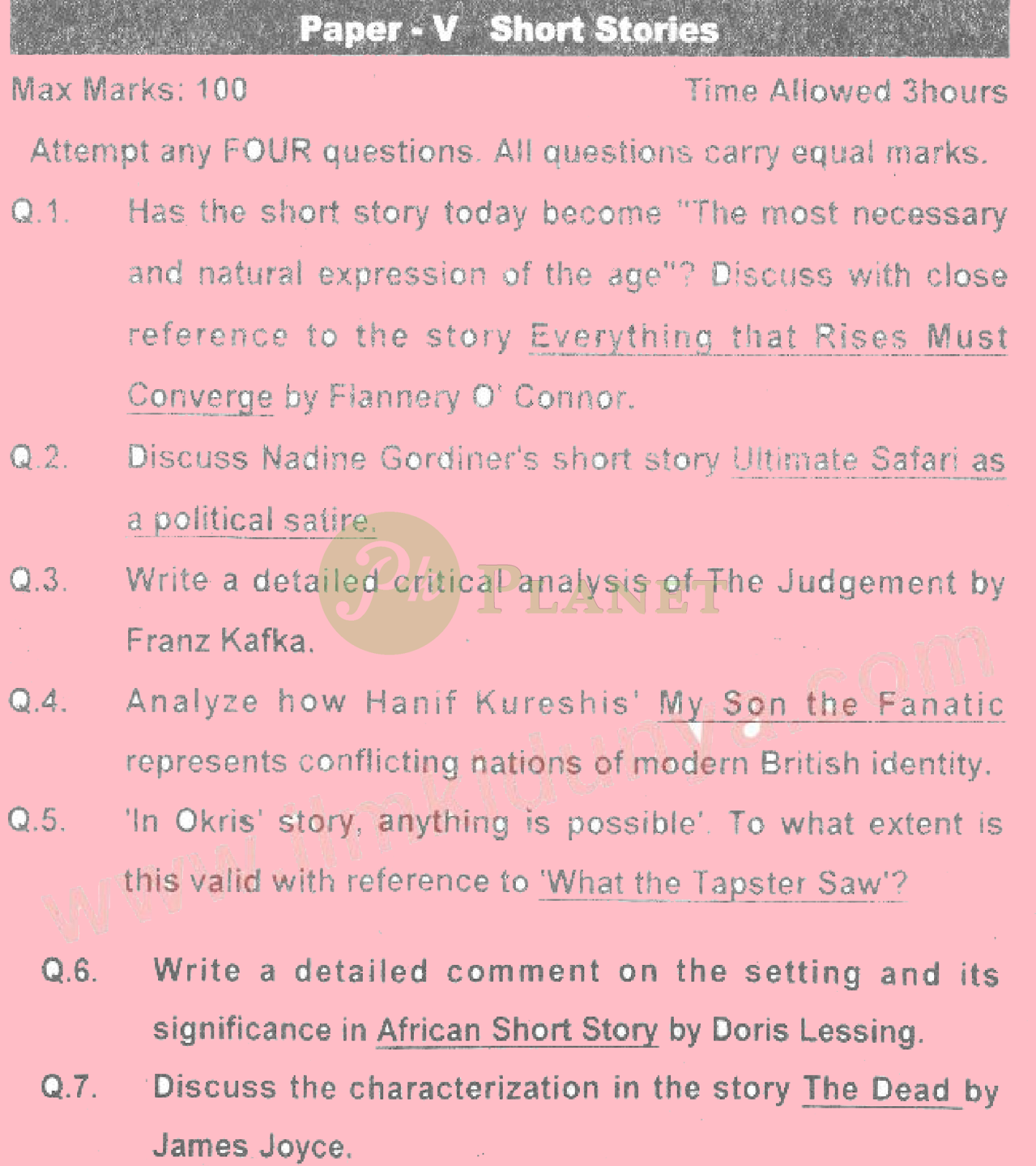 ma english part 2 past papers punjab university 2013 short stories
