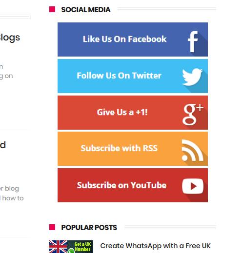 Add Social Media code on Side Bar Blogger Blogspot
