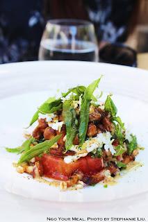 Girolles Mushrooms, Grapefruit Tomato, Ricotta, Fried Verbena at Pirouette in Paris