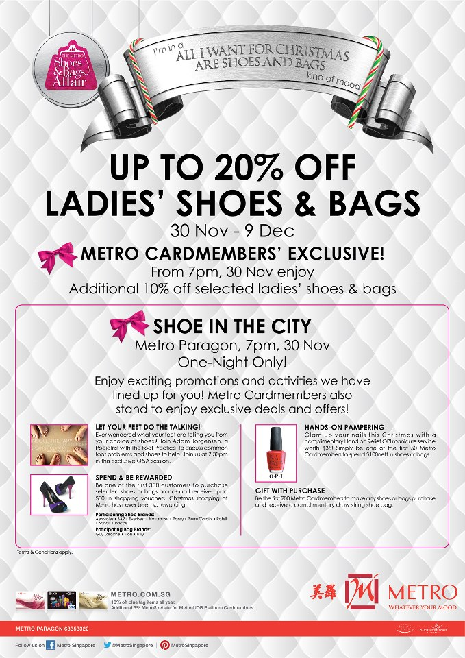 1c5be1914f Be classy   fabulous with us at this Metro s Shoes   Bags event! With up to  20% discount