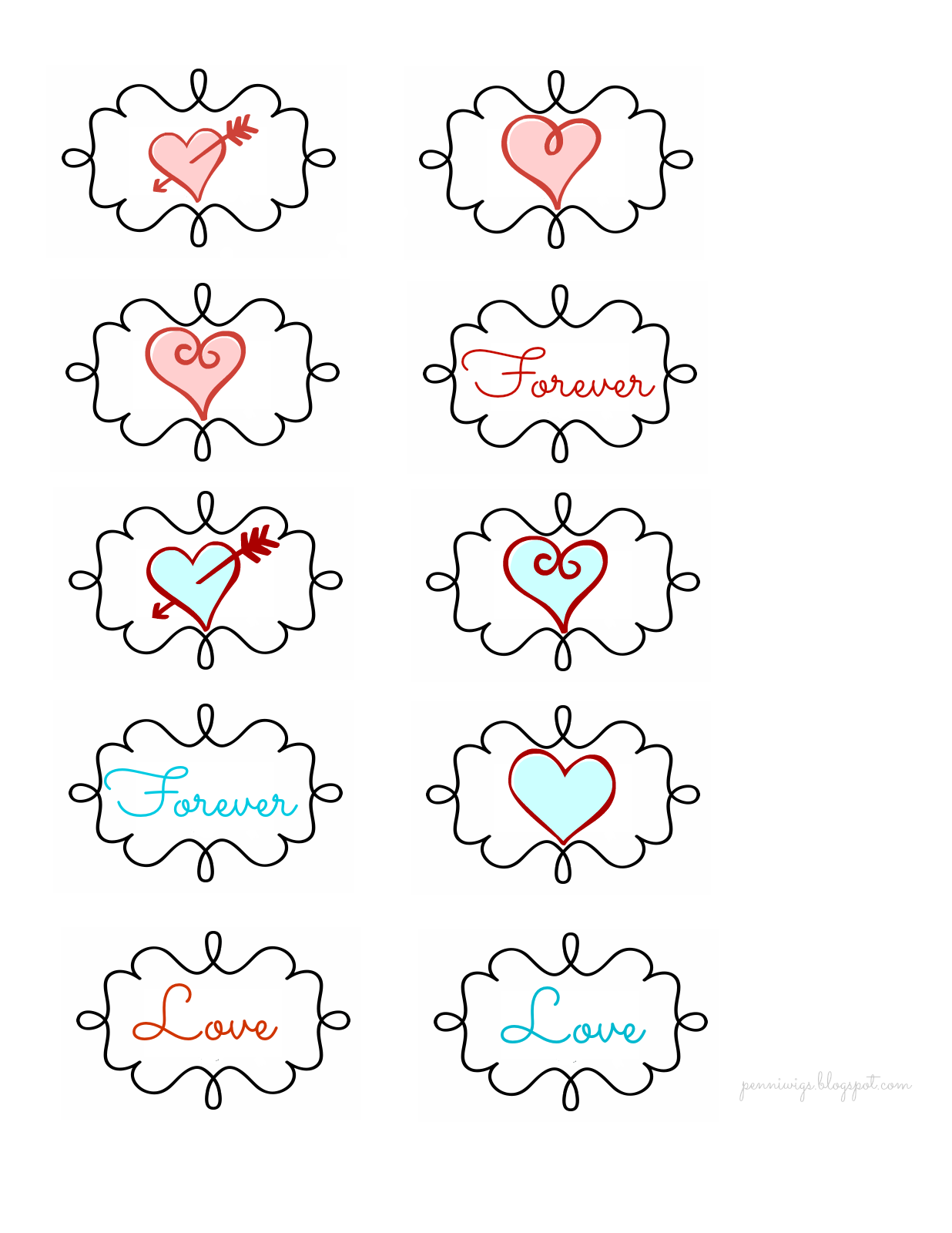 Penniwigs Free Graphics Printables Paper Fun Lore And More Flourish Tags For Valentine S