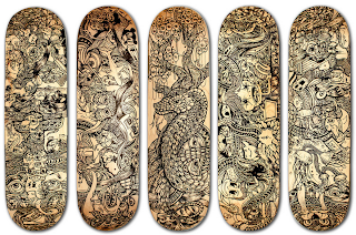 decorated skateboard decks