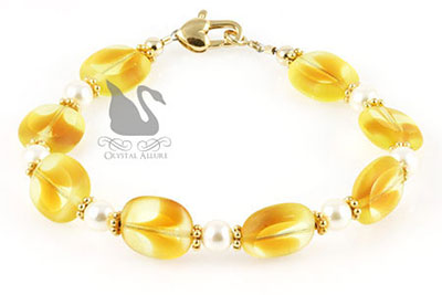 Yellow Pearl Czech Window Beaded Bracelet (B130)