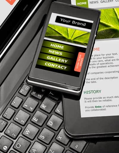 The optimization of a business website to a mobile website and a tablet.