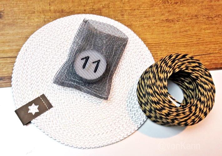 Untersetzer aus Seil genaeht - Teelicht mit Zahl darauf