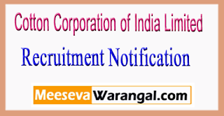 COTCORP Cotton Corporation of India Limited Recruitment Notification 2017