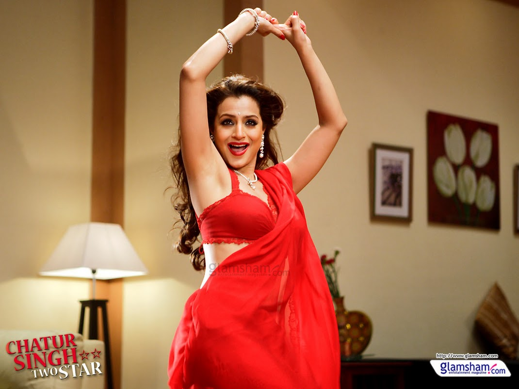 Ameesha Papael Ka Saxy Nangi Photo: Bollywood Actress Pictures: Amisha Patel In Red Hot Saree