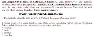 download Soal Ulangan UTS B. Indonesia KTSP Kelas 6 Semester 1 2016 2017